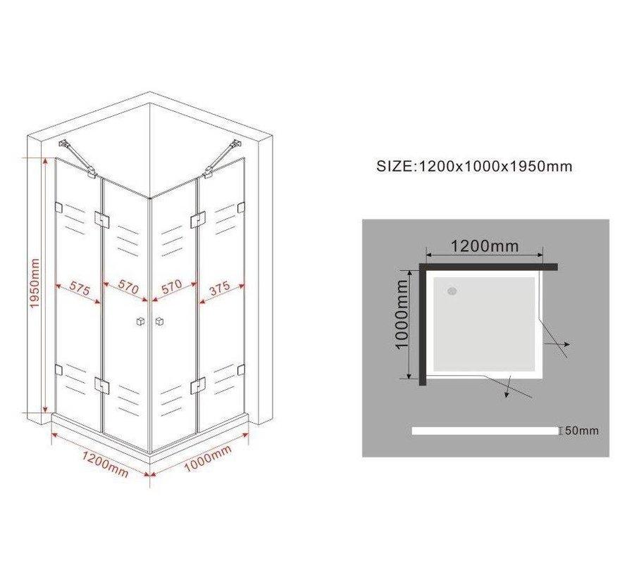 Luxor Douchecabine 120x100x195 cm hoek instap frameloos glas