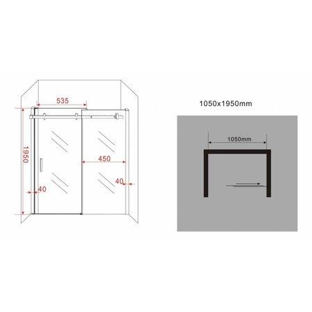 Schuifdeur - Douchedeur SLIDE 105x195 cm 8 mm glas