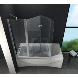 Tripo 150x140 cm Douchewand voor bad helder glas