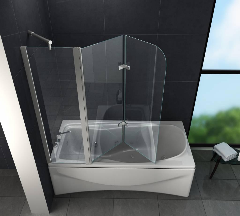 Glazen Wand Bad.Tripo Douchewand Voor Bad 150 X 140 Cm Helder Glas