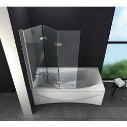 FLOYD Douchewand vouwdeuren voor bad 130x140 cm  helder glas