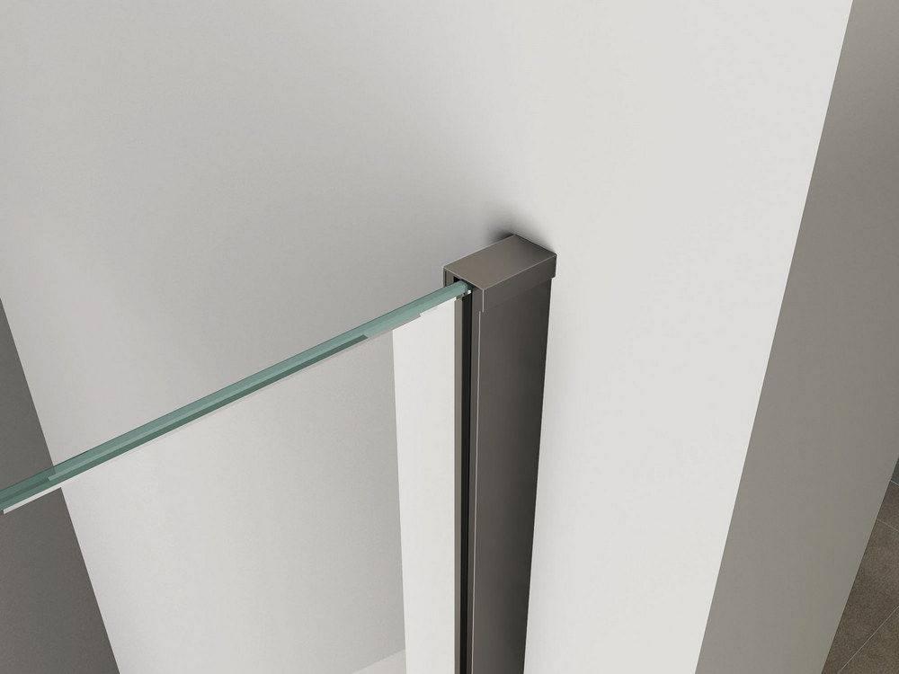 Inloopdouche Met Hoekfontein : Inloopdouche met mat zwart profiel cm nano mm safety glass