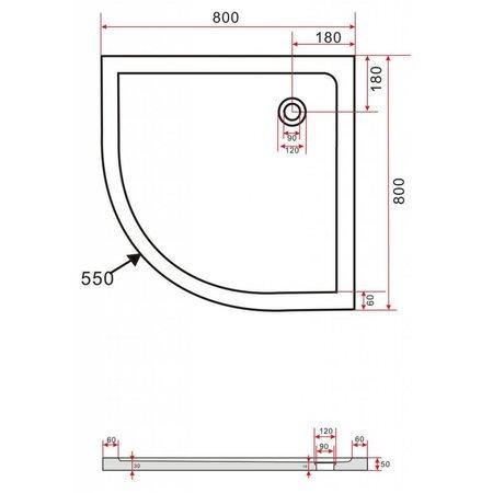 Douchebak kwartrond 80 x 80 cm,5 cm hoog