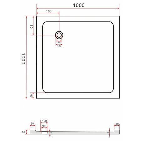 Douchebak 100 x 100 cm, 5 cm hoog