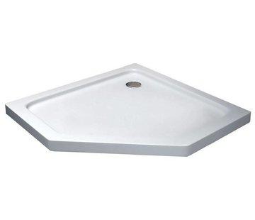 Rheiner douchebak 100x100x5 cm vijfhoek wit