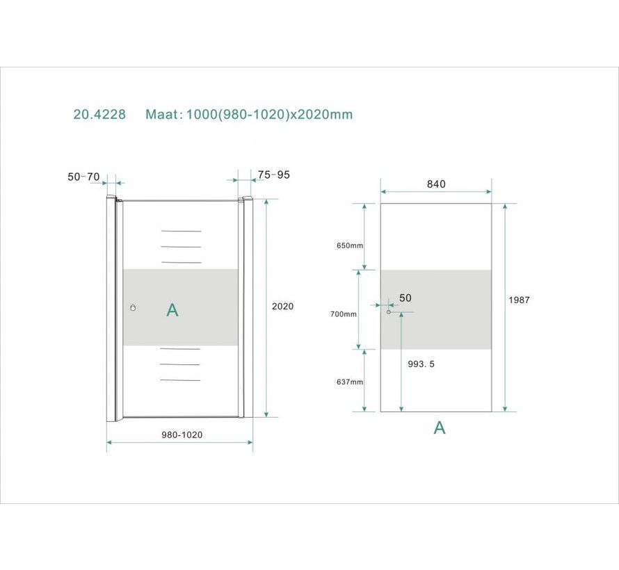 Base Nisdeur met profiel 100x200 cm NANO gedeeltelijk matglas