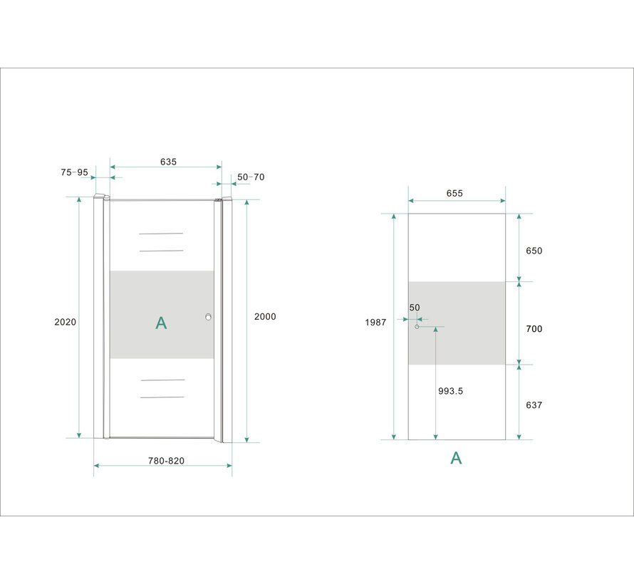 Base Nisdeur met profiel 80x200 cm NANO gedeeltelijk matglas