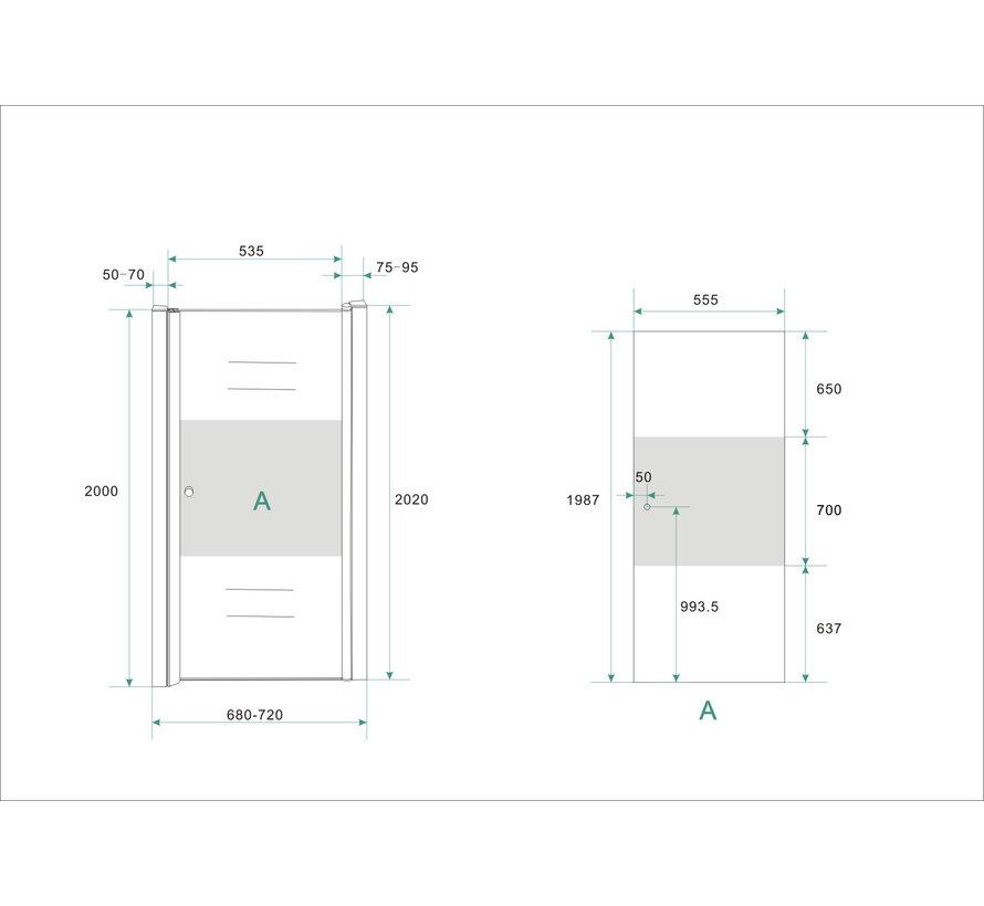 BaseNisdeur met profiel 70x200 cm NANO gedeeltelijk matglas