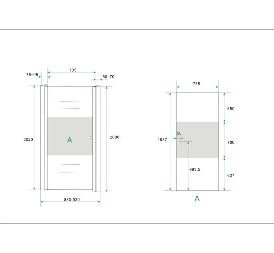 Base Nisdeur met profiel 90x200 cm NANO gedeeltelijk matglas - links