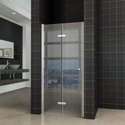 Fold vouwbare douchedeur 80x200 cm nisdeur links 8 mm glas