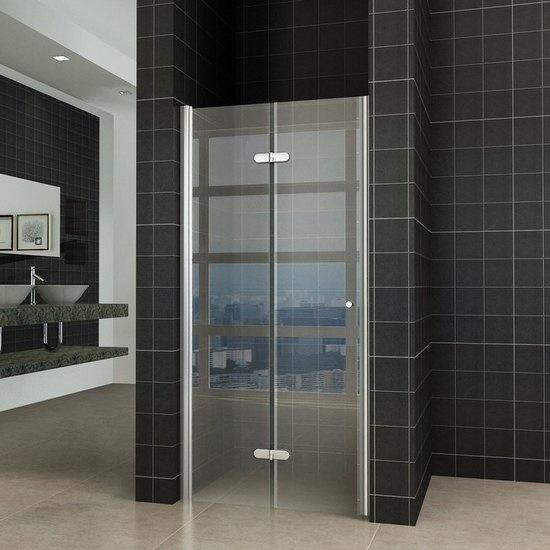 Fold vouwbare douchedeur nisdeur 90x202 cm links 8 mm glas