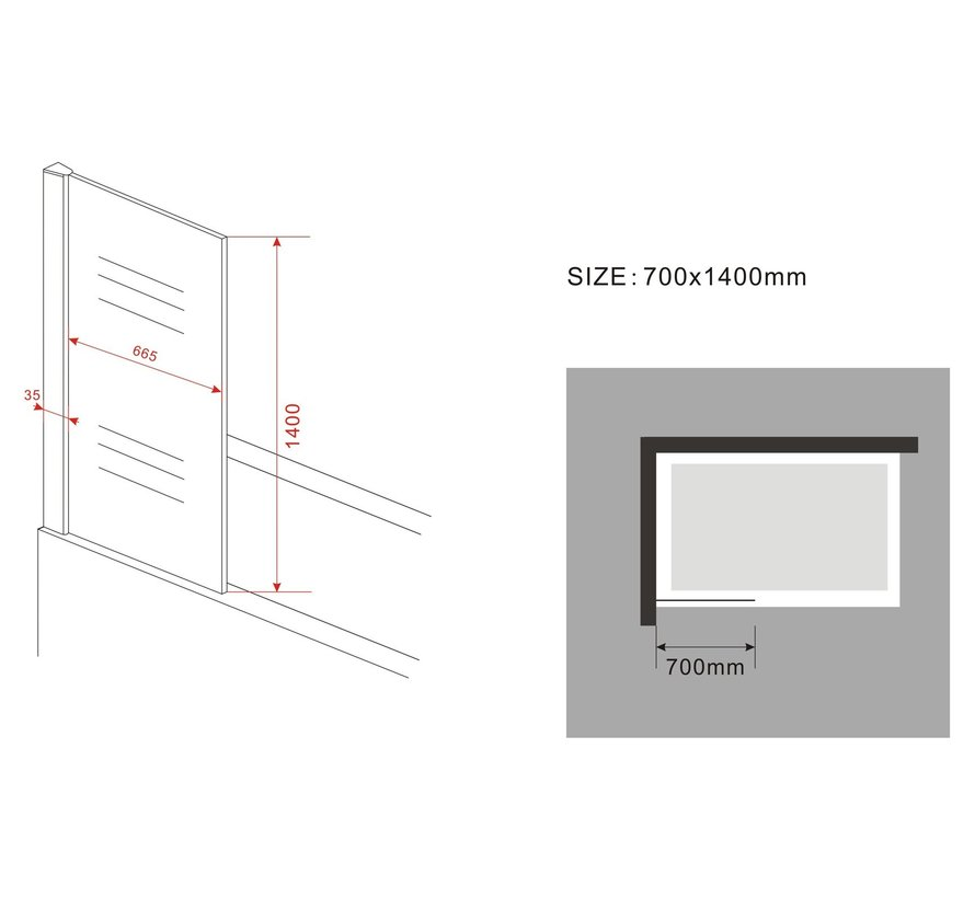 Square Douchewand voor Bad 70x140 cm helder glas