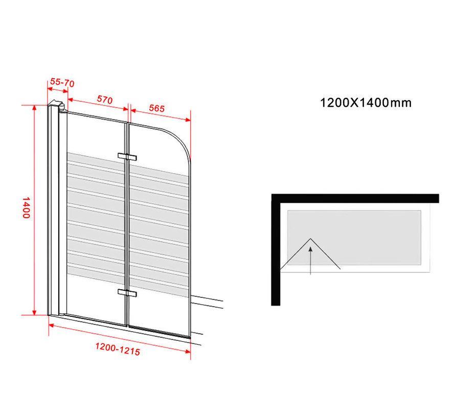 Brize Douchewand  voor Bad vouwdeur 120x140 cm matglas