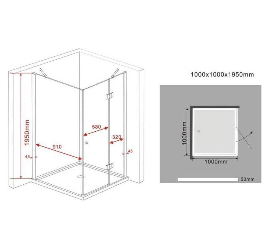 Novia douchecabine zij instap vierkant 100x100x195 cm - matzwart