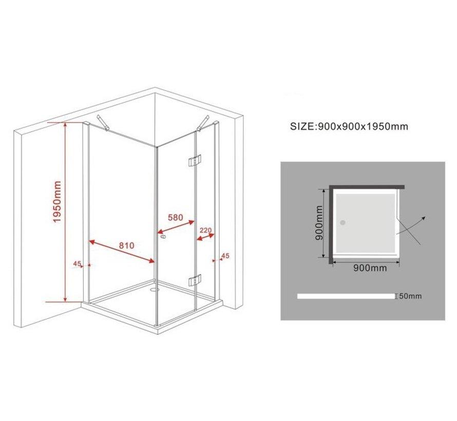 Novia douchecabine zij instap vierkant 90x90x195 cm - matzwart