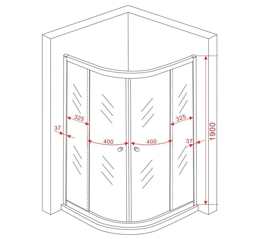 Friso douchecabine kwartrond met hoek instap 80x80x190 cm - matzwart