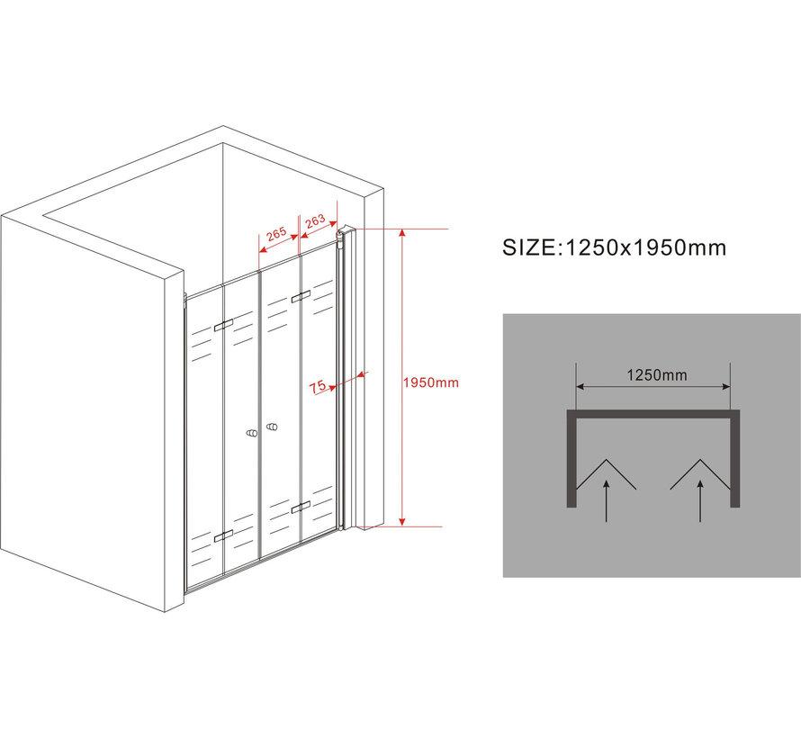 Accor vouwbare douchedeur nisdeur 125x195 cm helder glas