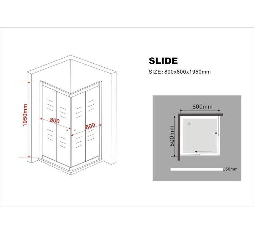 Slide Douchecabine Hoekinstap Schuifdeuren 80x80x195 cm Matzwart