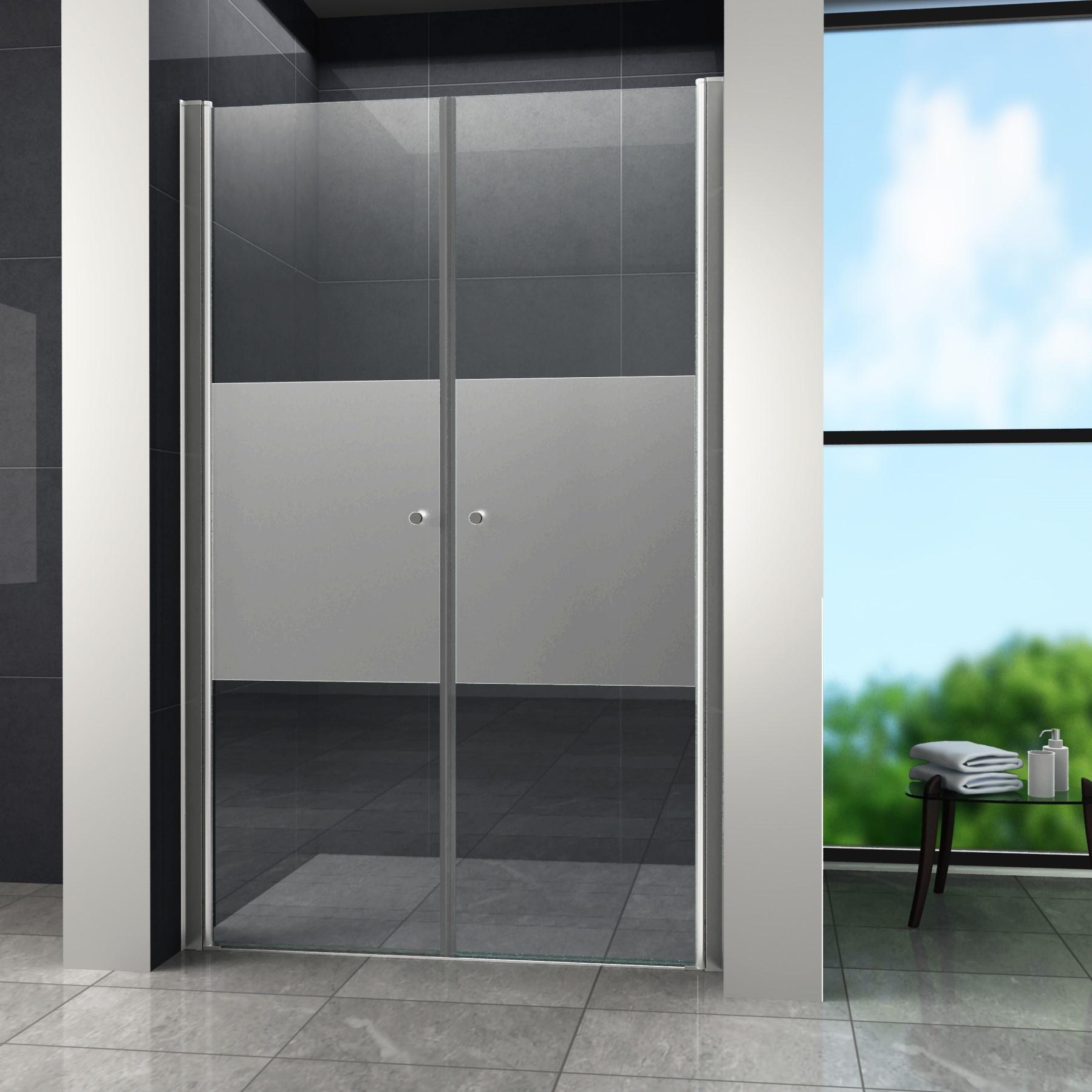 Swing-Cover Douchedeur Pendeldeur 95x195 cm Gedeeltelijk Matglas binnen 4 tot 7 werkdagen in huis met voordeel