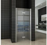 Fold vouwbare douchedeur 80x200 cm nisdeur rechts 8 mm glas