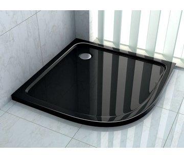 Rheiner douchebak 90x90x5 cm kwartrond zwart