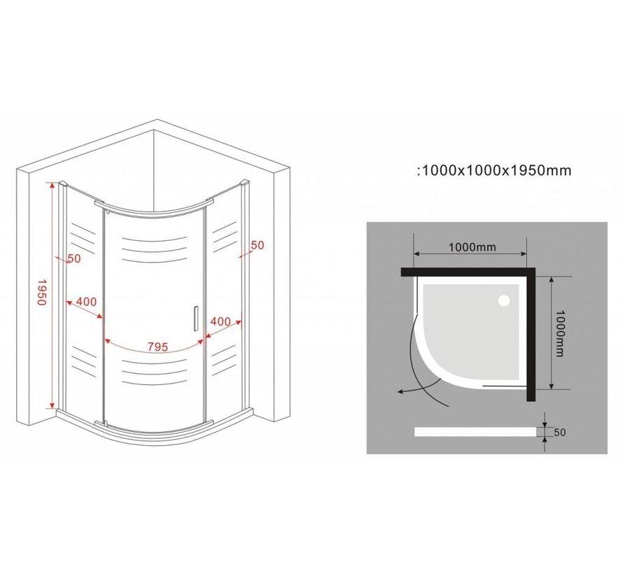 Paulo douchecabine kwartrond met draaideur 100x100x195 cm