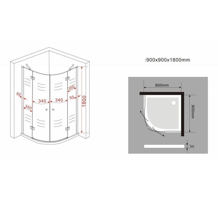 Angelo douchecabine kwartrond met hoekinstap 90x90x180 cm