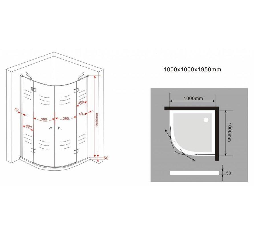 Angelo douchecabine kwartrond met hoekinstap 100x100x195 cm
