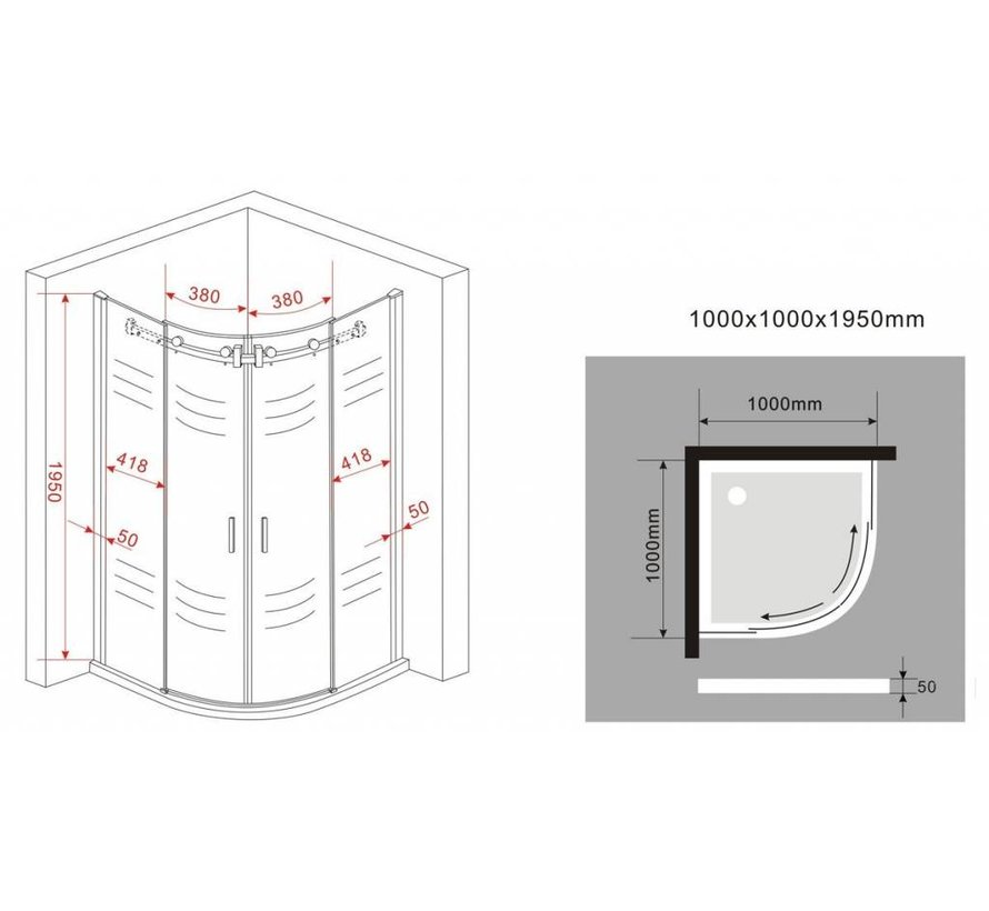 Bari douchecabine kwartrond met schuifdeur100x100x195 cm