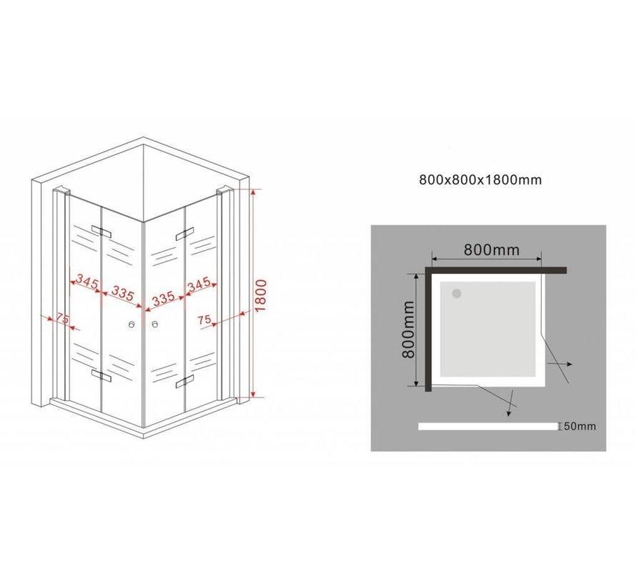 Clip douchecabine met vouwdeuren 80x80x180 cm