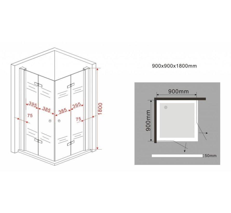 Clip douchecabine met vouwdeuren 90x90x180 cm
