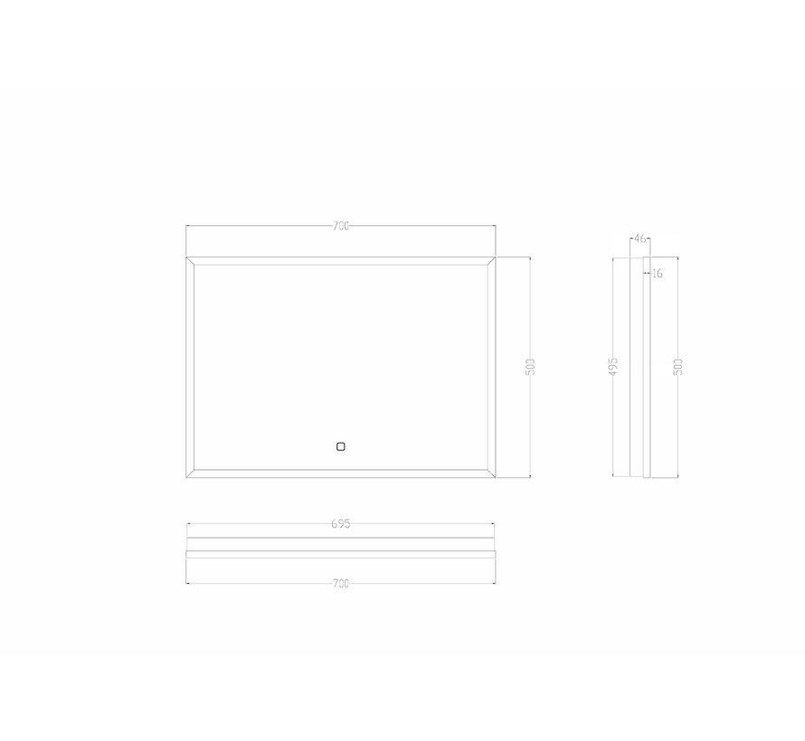Wiesbaden Rechthoek condensvrije & verwarming LED-Spiegel 70x50 cm mat zwart