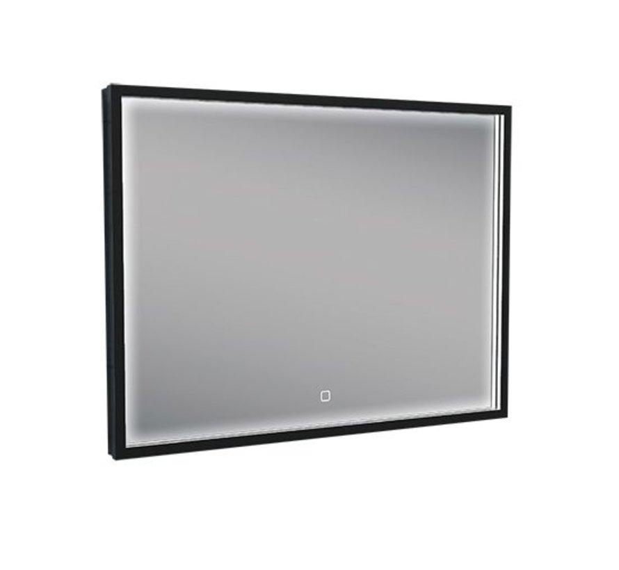 Wiesbaden Rechthoek condensvrije & verwarming LED-Spiegel 80x60 cm mat zwart