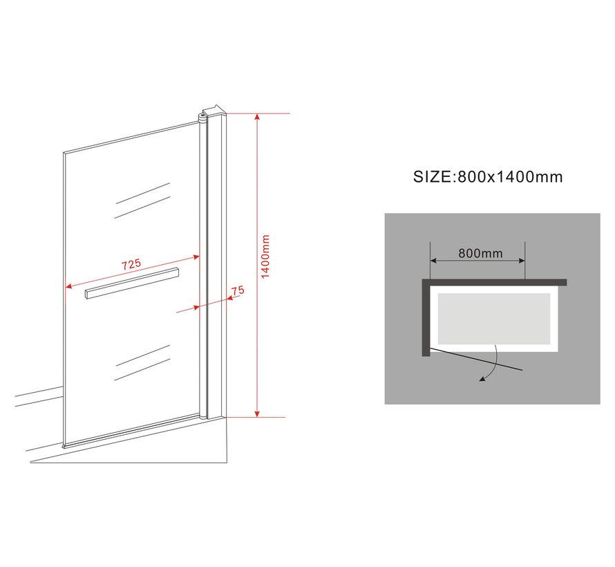 Square Badwand 80x140 cm met handdoek houder