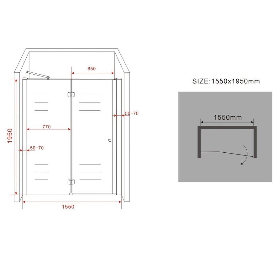 Enter douchedeur 155x195 cm nisdeur 8 mm veiligheidsglas