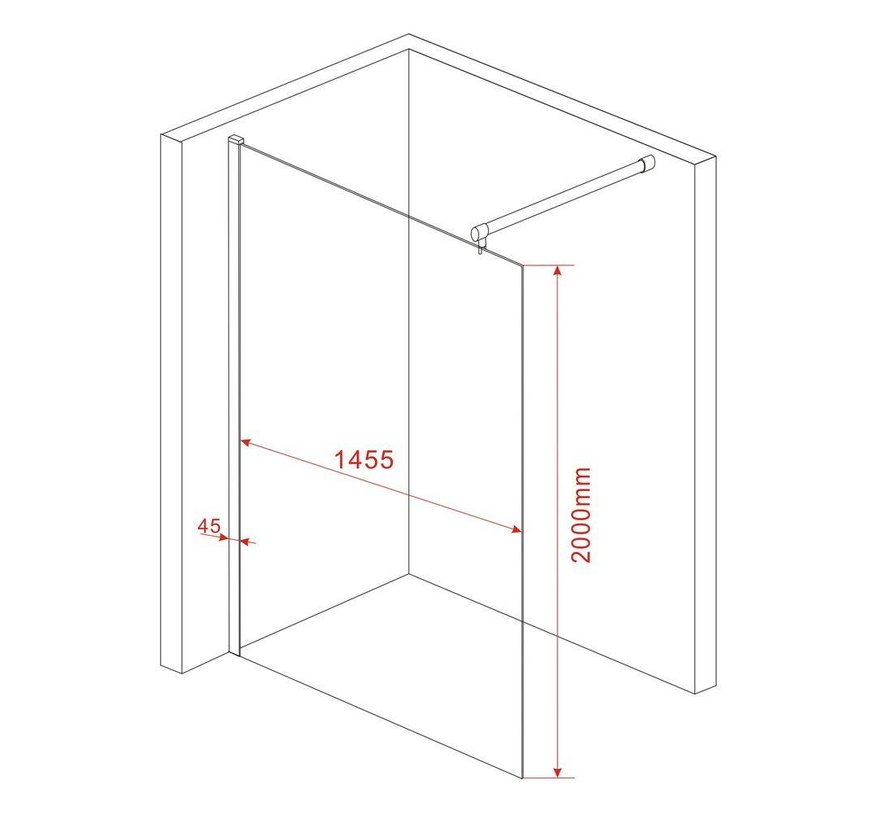 Inloopdouche Aqua 150 x 200 cm 10 mm veiligheidsglas
