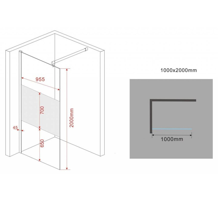 Aqua-Frosted Inloopdouche gedeeltelijk matglas 100-102x200 cm
