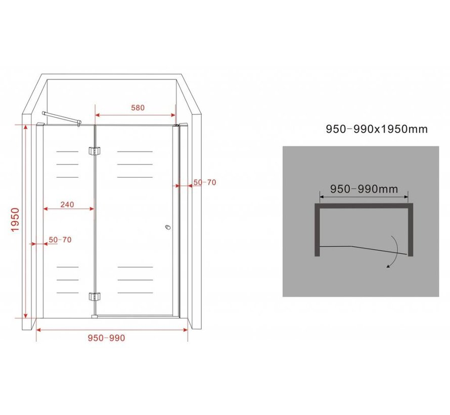 Enter douchedeur 95x195 cm nisdeur 8 mm veiligheidsglas