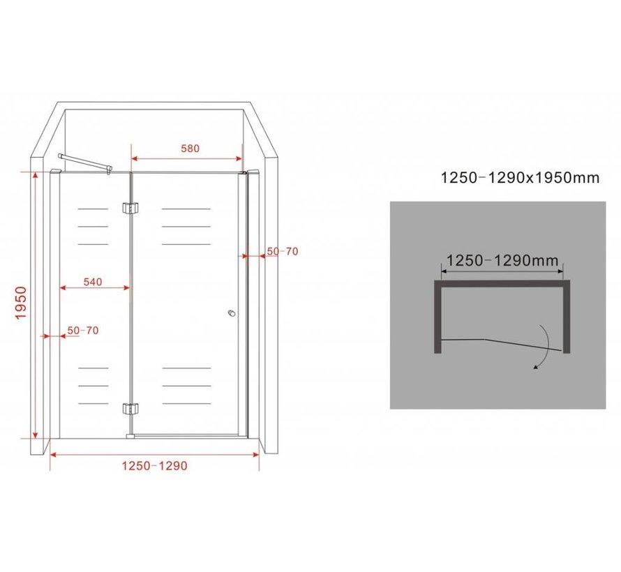 Enter douchedeur 125x195 cm nisdeur 8 mm veiligheidsglas