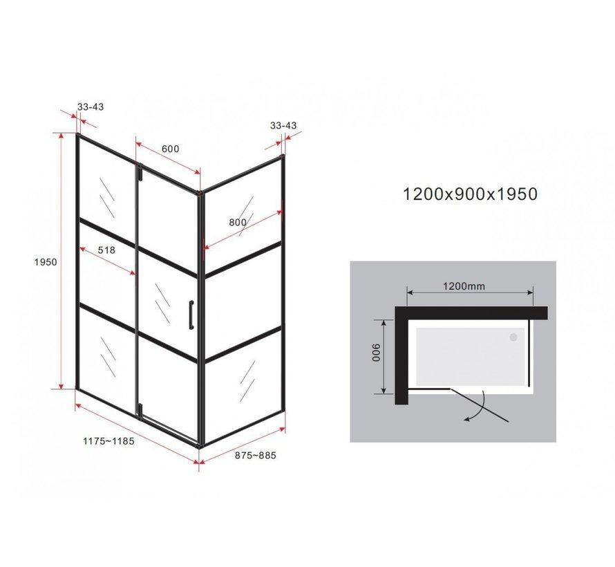 Felin mat zwart douchecabine 120 x 90 x 195 cm