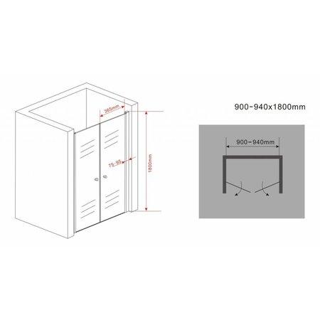 Douchedeur - pendeldeur SWING 90x180 cm