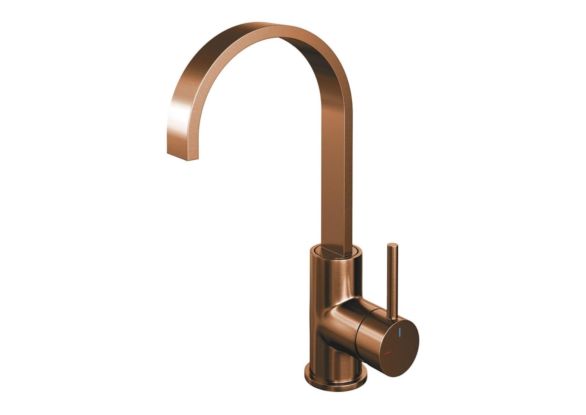 Brauer Copper Edition platte wastafelkraan hoog geborsteld koper PVD