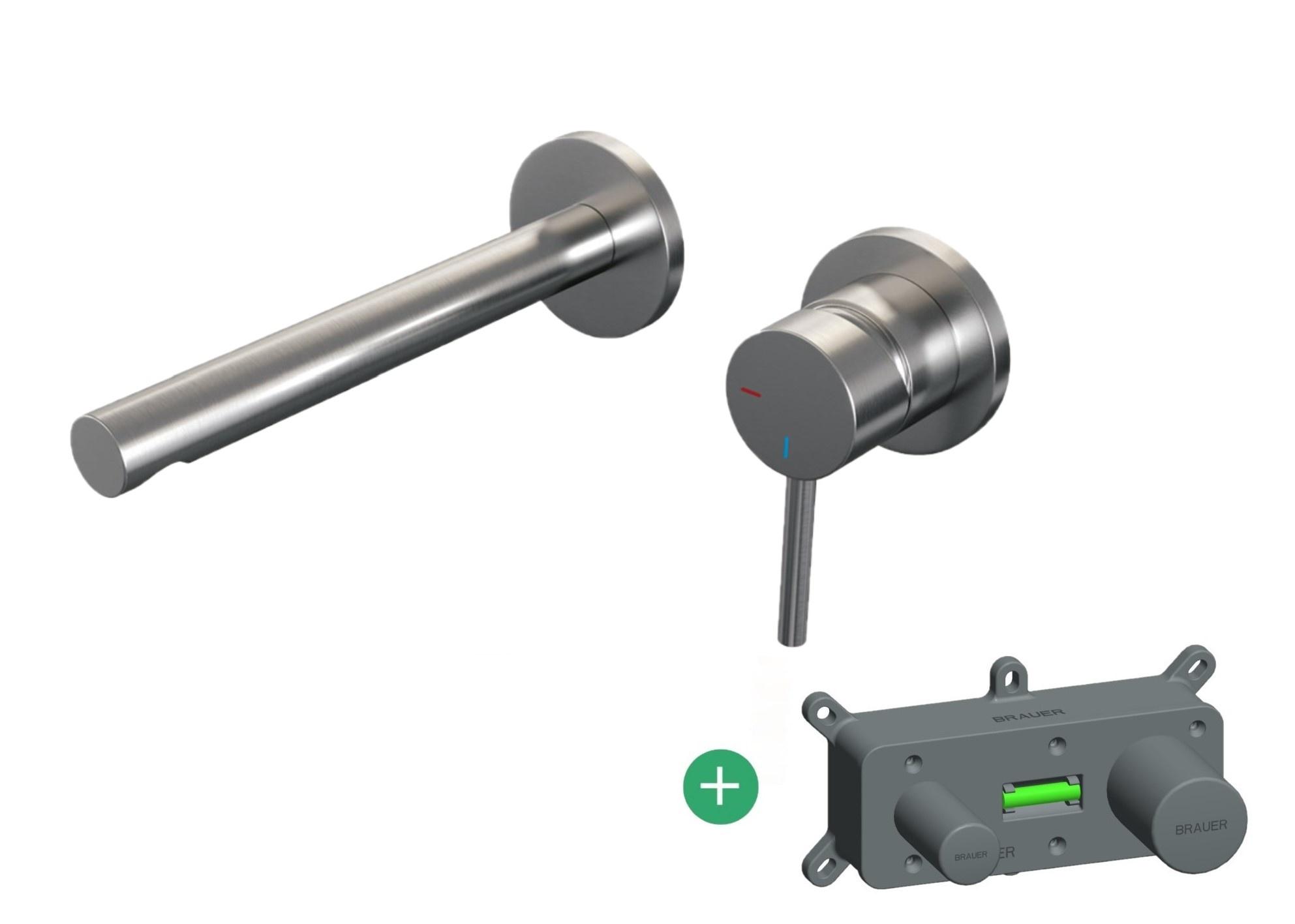 Brauer Brushed Edition inbouw wastafelkraan - inclusief inbouwdeel nikkel PVD