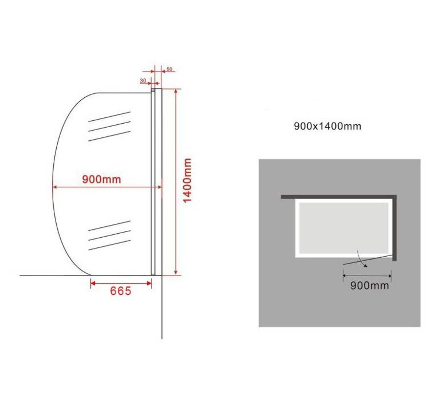 LUNA Douchewand voor Bad 90x140 cm gedeeltelijk rond helder glas
