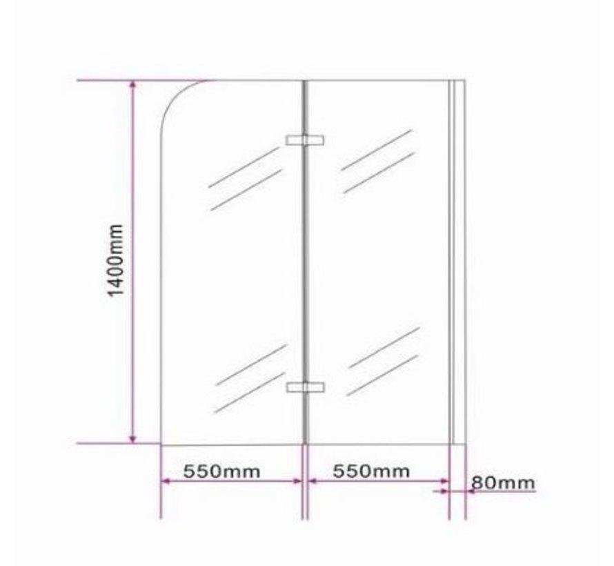 Brize Douchewand vouwdeur voor Bad 120x140 cm helder glas