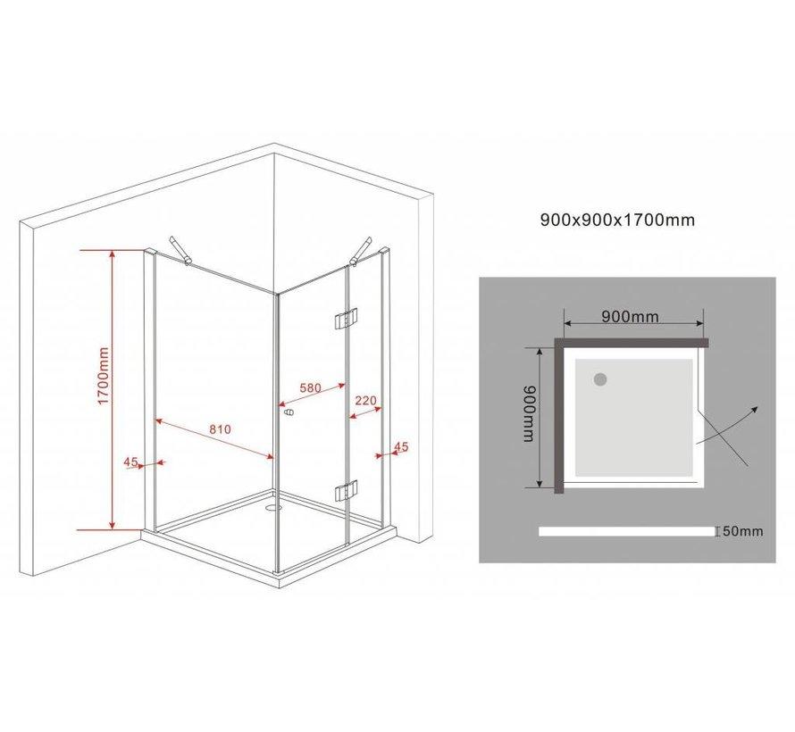 Novia douchecabine zij instap vierkant 90x90x170 cm
