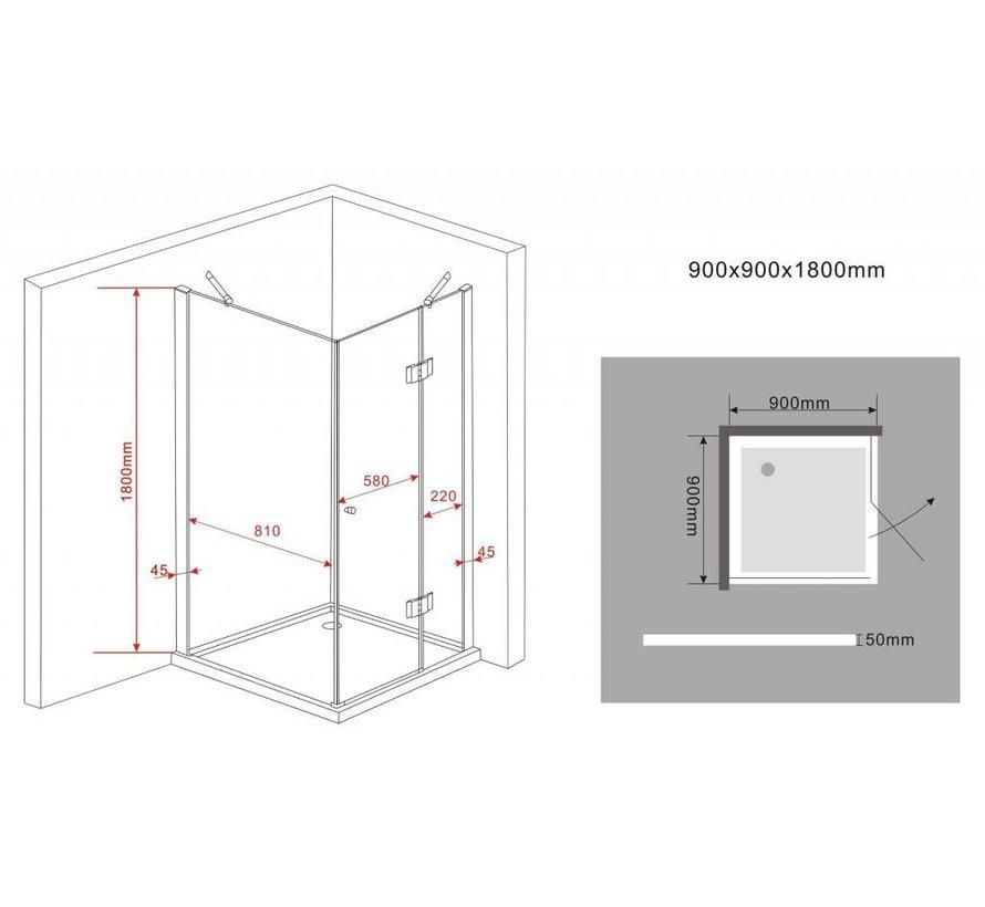 Novia douchecabine zij instap vierkant 90x90x180 cm