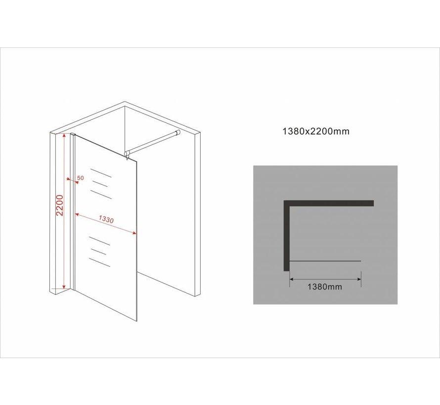 Aqua-Extra Inloopdouche 138 x 220 cm 10 mm helder glas