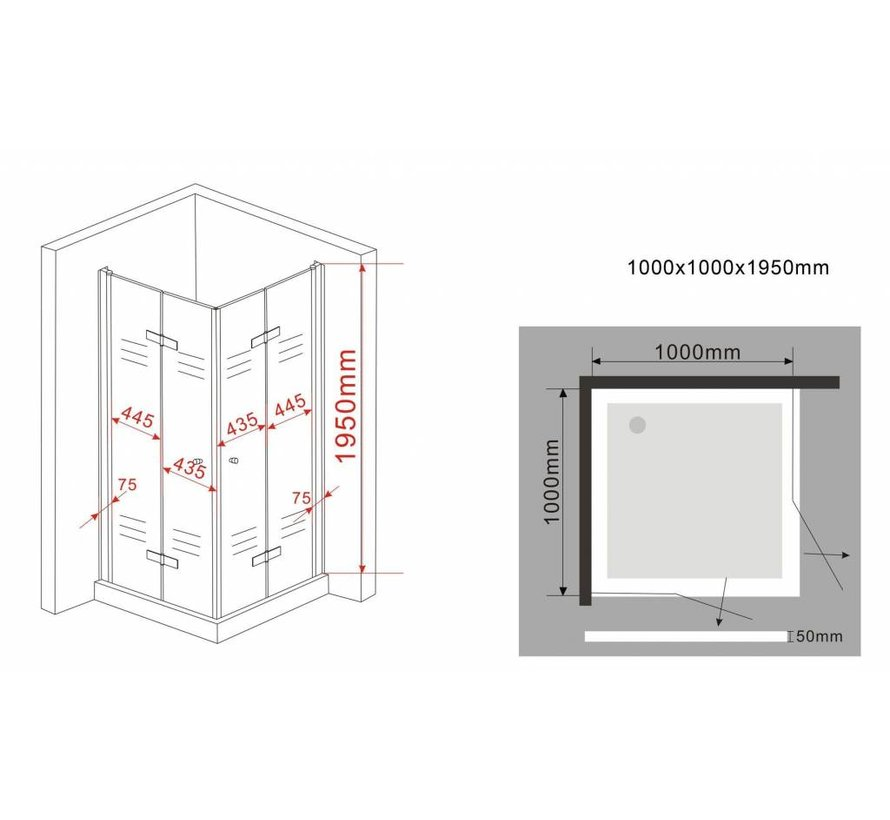 Clip douchecabine met vouwdeuren 100x100x195 cm