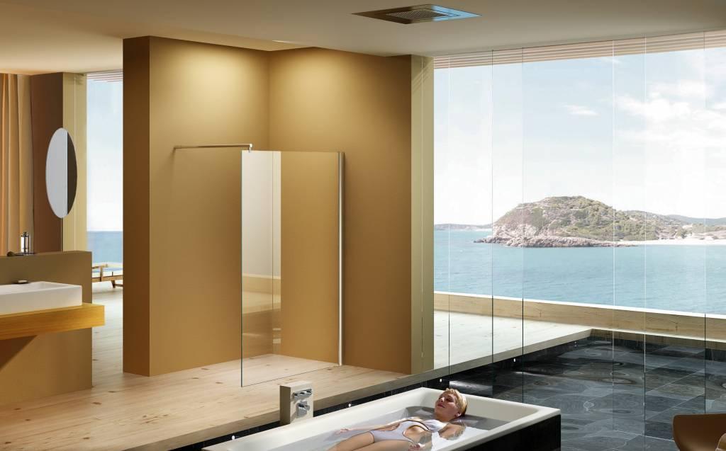 Een walk in douche, comfortabel en bijzonder mooi